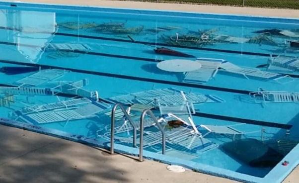 vandalized swimming pool